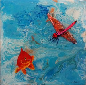 "© Laura Gabel, ""Fishing Around"". 12x12, mixed media. $250."