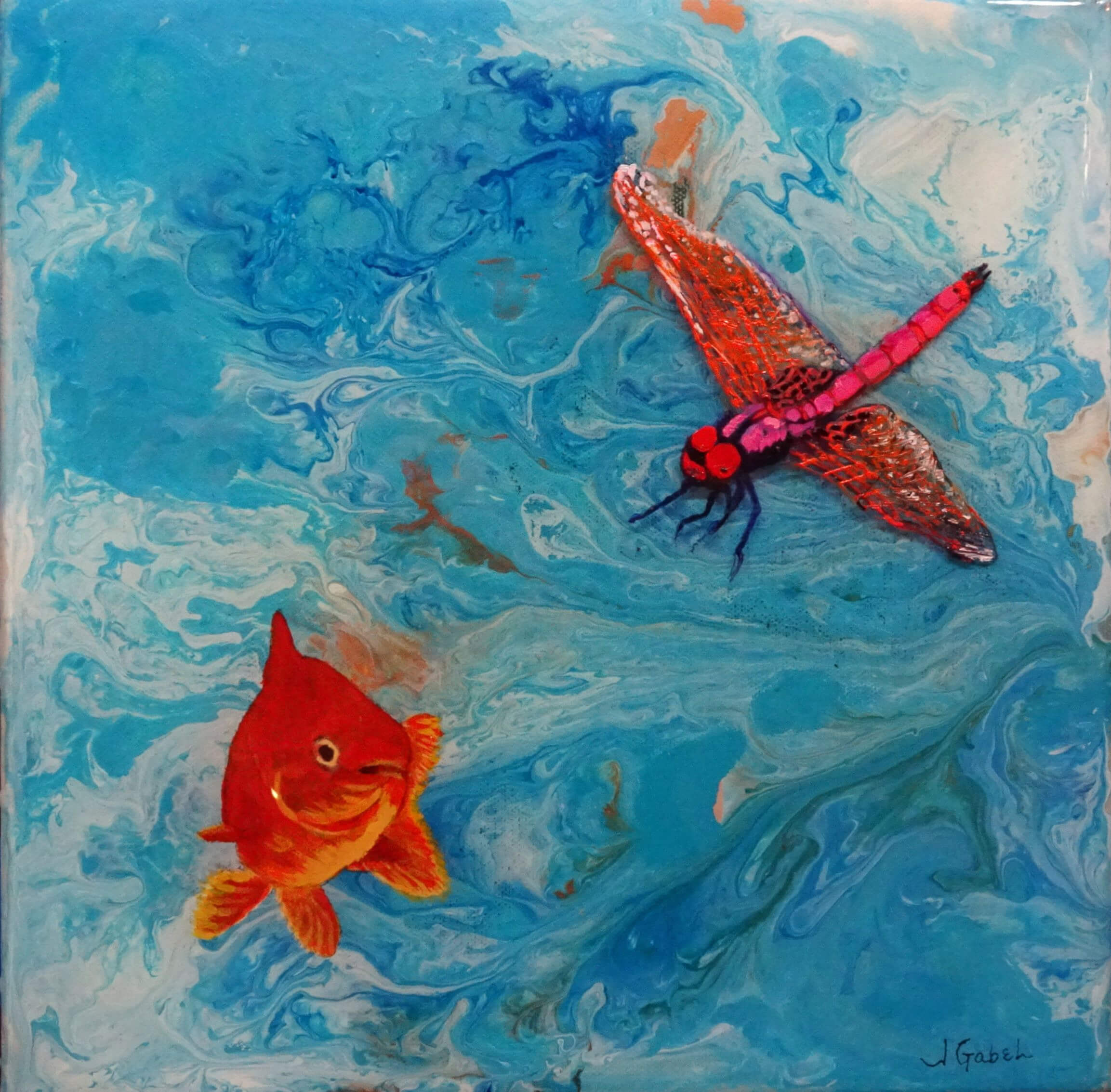 "© Laura Gabel, ""Fishing Around"". Mixed Media, 12x12. Private collection."