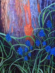 "© Laura Gabel, ""Bark and Bluebells"". Pastel, 22.5x29. Framed in a mahogany wood frame with museum non-glare glass. $2500. Creation speaks"