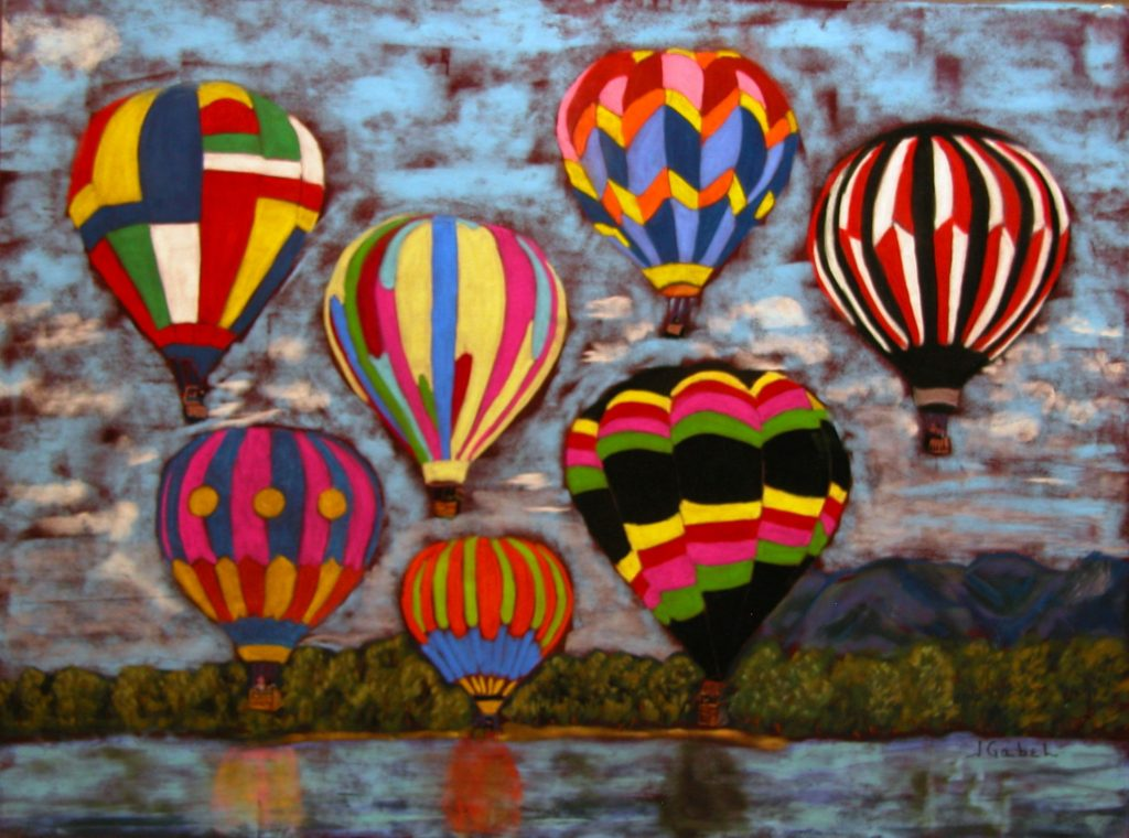 "© Laura Gabel, ""Balloon Family"". 16x20, pastel. Private collection. happy family balloons 5"