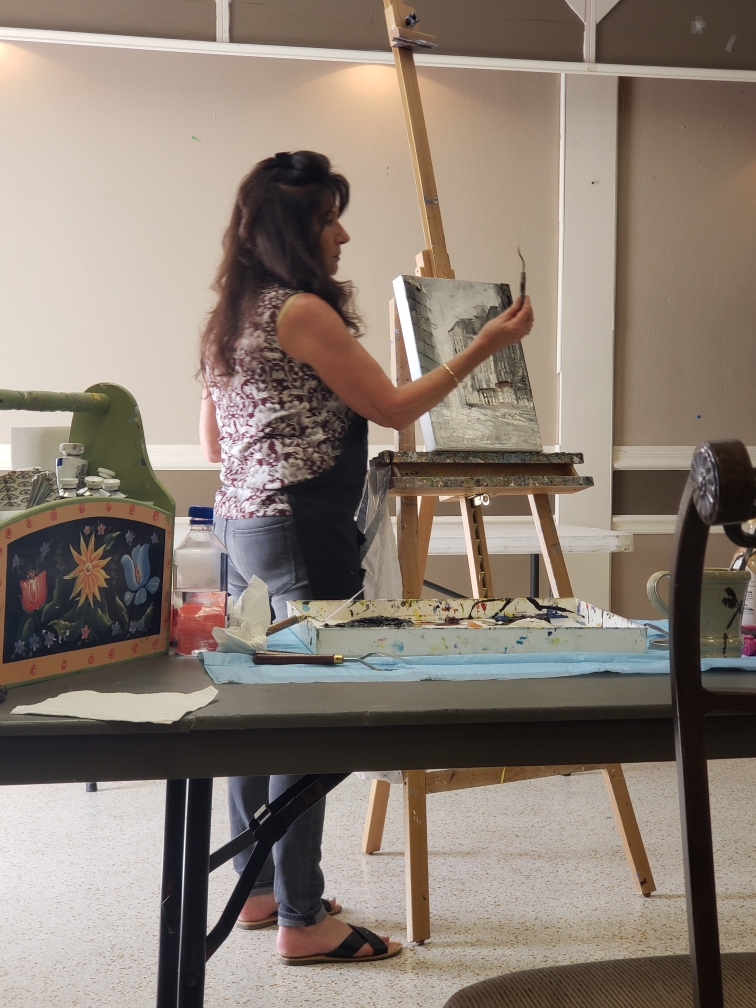 creativity takes courage (diane with pallet knife)