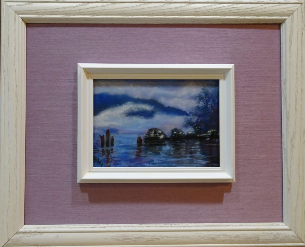 "© Laura Gabel, ""Daydreaming 1"". 5x7 framed to 13x16, mixed media. $99."