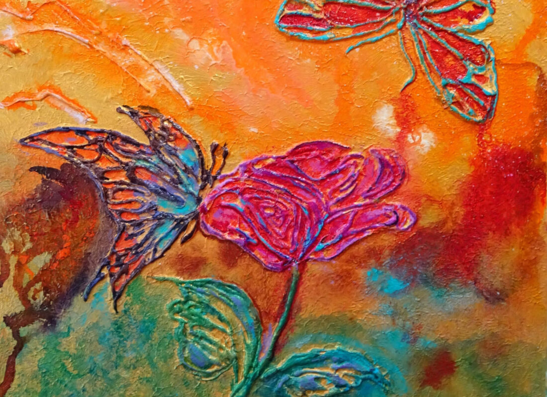 """© Laura Gabel, """"Butterfly Beauties"""". 11x14, mixed media. Private collection. Purchase Here"""