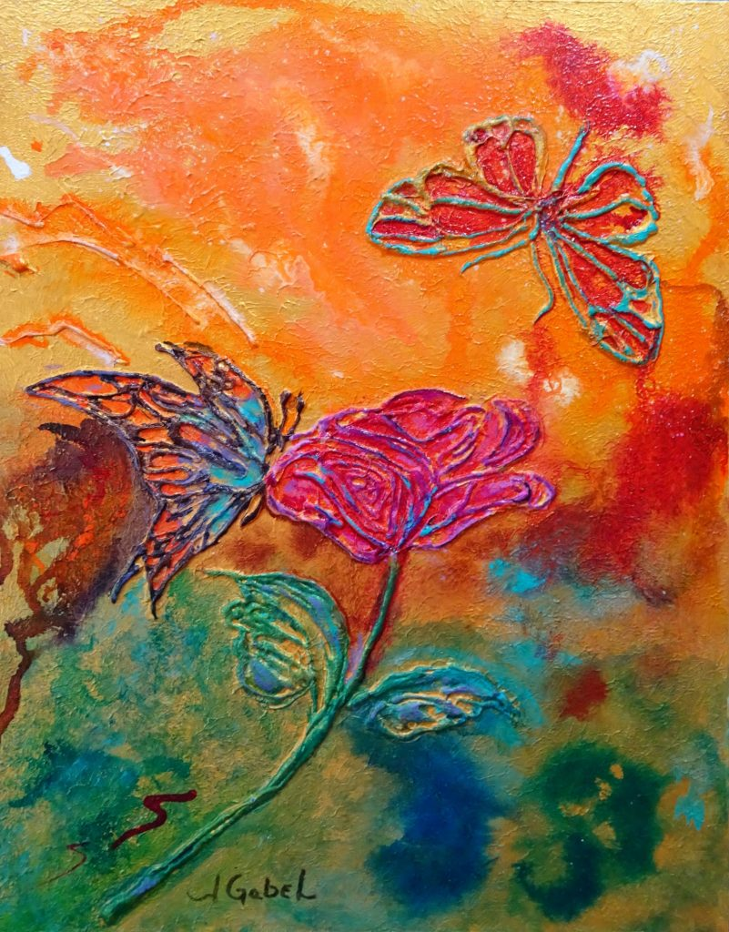 "© Laura Gabel, ""Butterfly Beauties"". 11x14, mixed media. Private collection. Purchase Here"