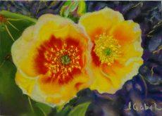 """© Laura Gabel, """"Hope in the Desert"""". 5x7 framed to 13x16, mixed media. $99."""