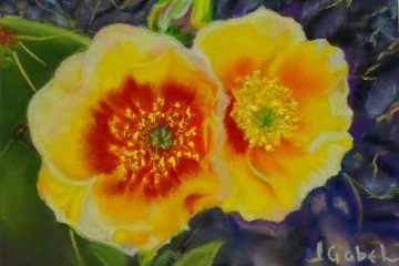 """© Laura Gabel, """"Hope in the Desert"""". 5x7 framed to 13x16, mixed media. $250. Purchase Here"""