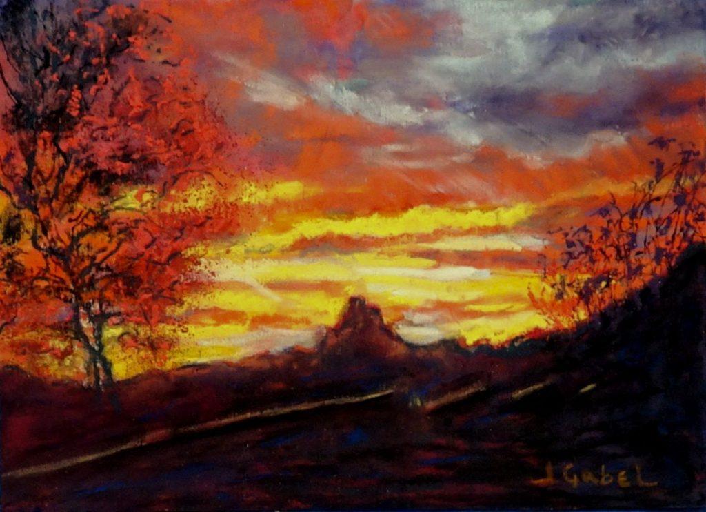 "© Laura Gabel, ""Arizona Longings: Crimson Canyon"". 5x7 framed to 13x16, mixed media. $250. Purchase Here"