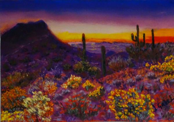 "© Laura Gabel, ""Arizona Longings: Desert Love"". 5x7 framed to 13x16, mixed media. $250. Purchase Here"