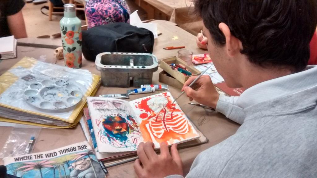 teacher student blog, student sketchbook, skeleton painting
