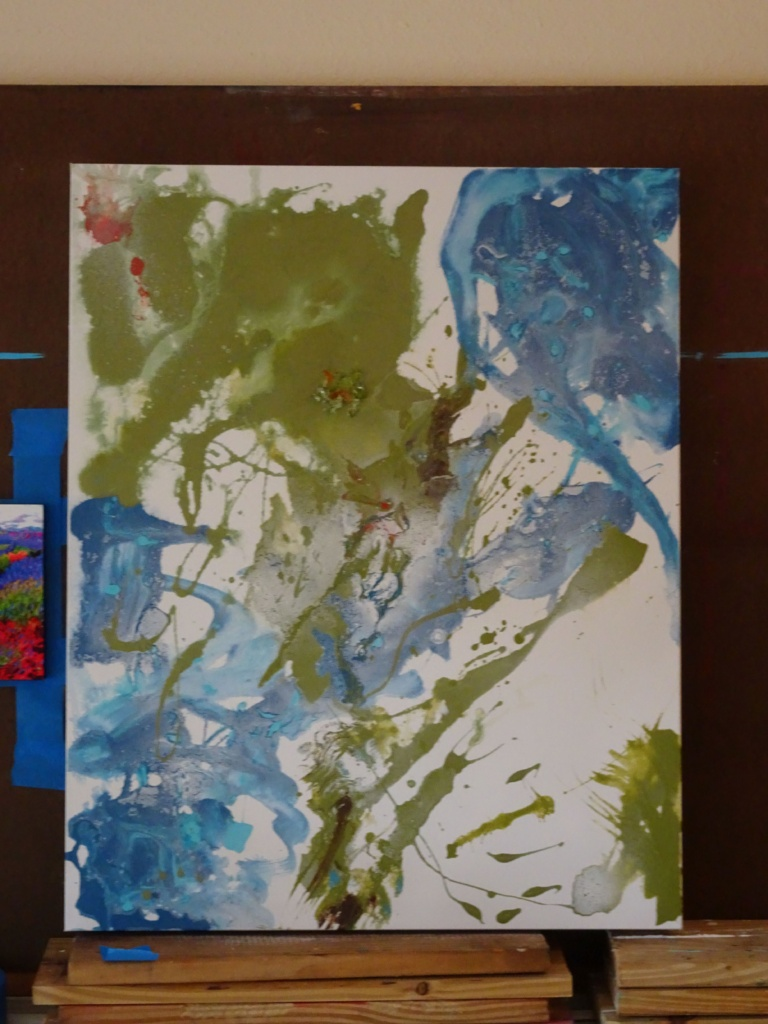 """abstract art, © Laura Gabel, """"Day Three"""". 24 x 30, acrylic. Private Collection. progress shot"""