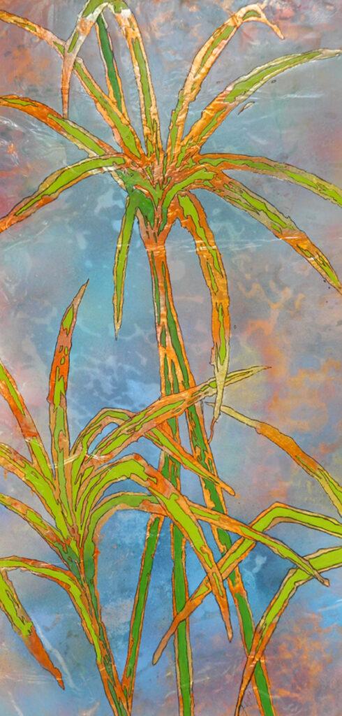 umbrella grass without rain 12x24 $325.00 by Lyn Novak Hise
