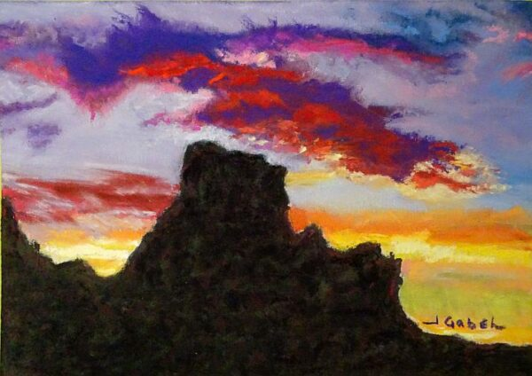 """© Laura Gabel, """"Arizona Longings: Drama Queen"""". 5x7 framed to 13x16, mixed media. $250. Purchase Here"""