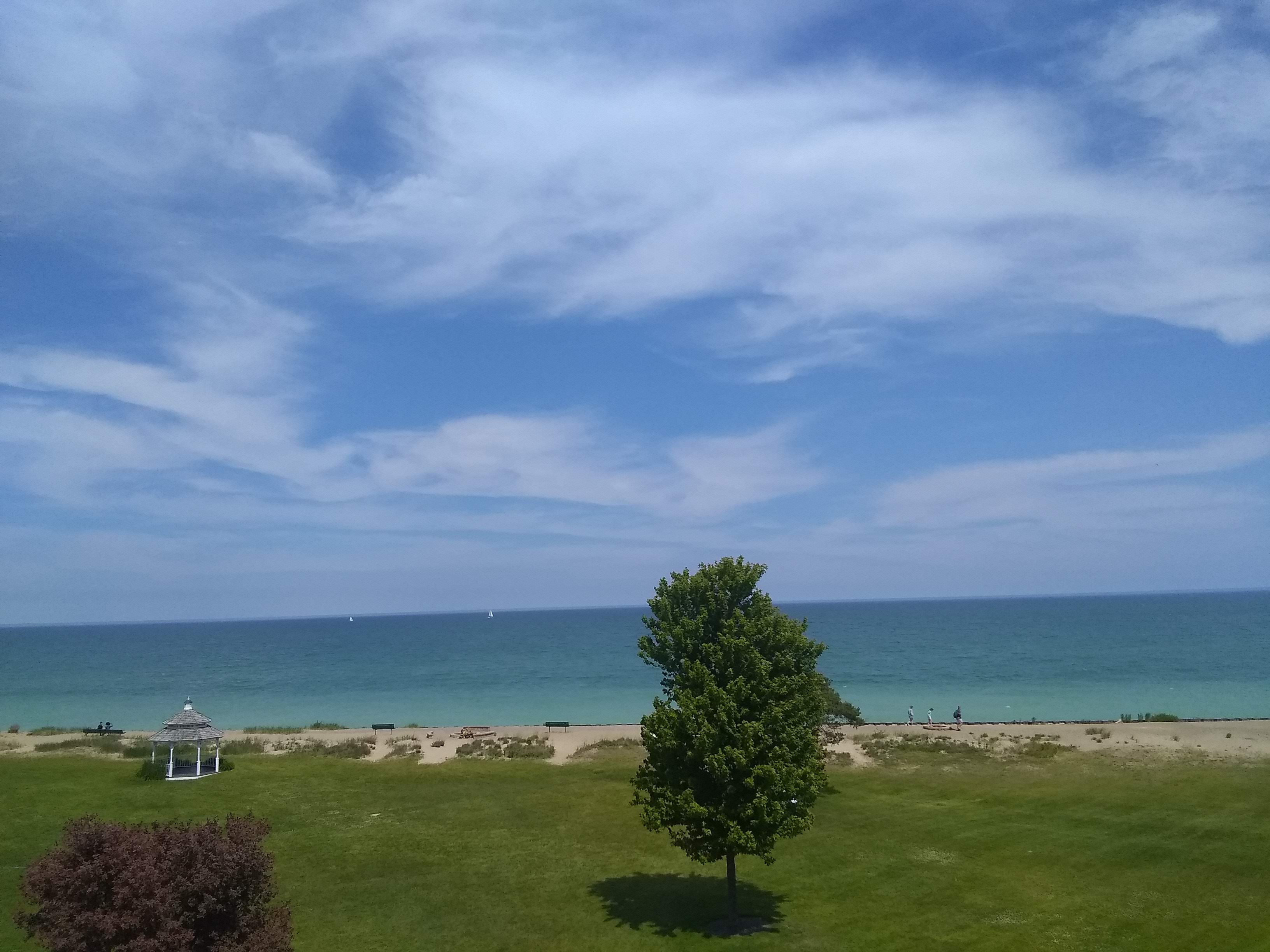 Lake Michigan view from balcony, relaxation blog