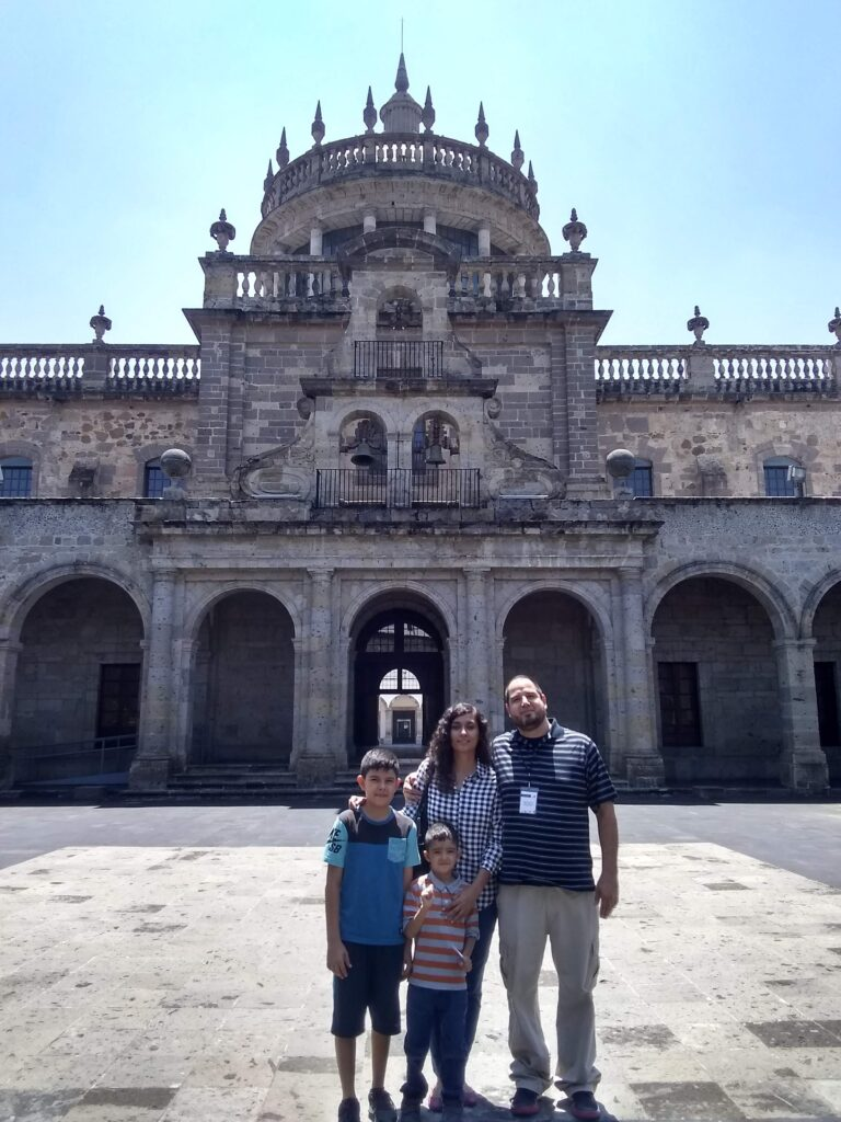 exterior of Museo Cabañas in Guadalajara (with host family)