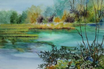 Rainbow River 1 size 25x14. Framed size 28x17. Watercolor. $375.00