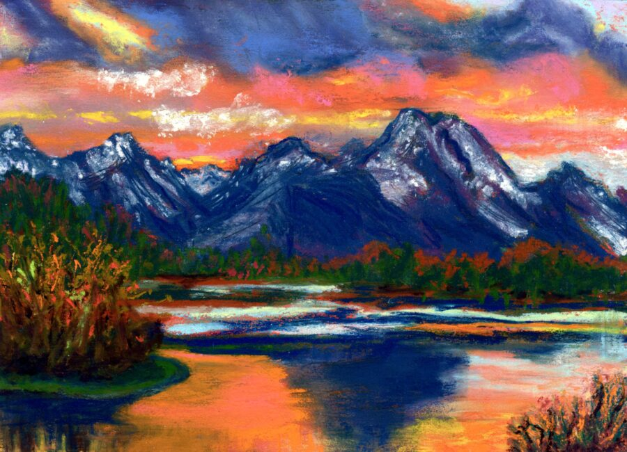 """© Laura Gabel, """"Wyoming"""". 5x7 framed to 13x16, mixed media. $250. Purchase Here"""