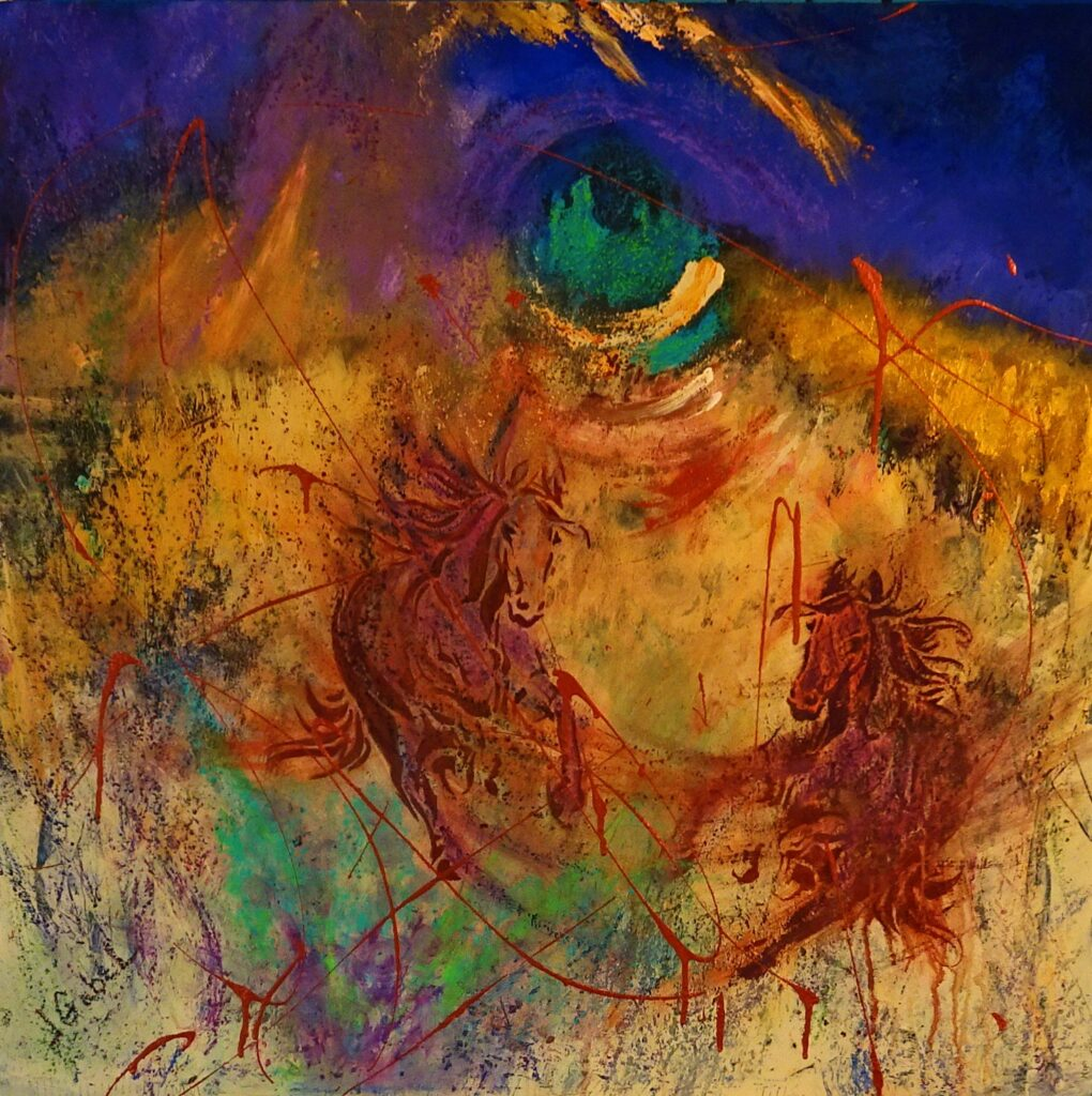 """© Laura Gabel, """"Night Riders"""". Mixed Media, 32x32. Private Collection."""