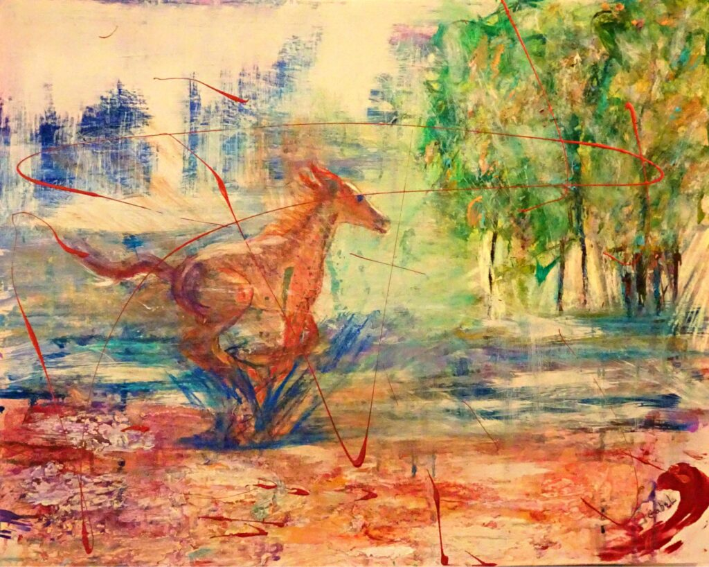 """© Laura Gabel, """"Spring Romp"""". Mixed Media, 26x32. Private Collection."""